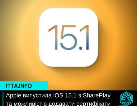 Apple випустила iOS 15.1 з SharePlay та можливістю додавати сертифікати вакцинації у Wallet
